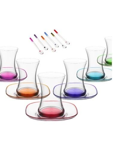 Lav Zen Renkli Çay Seti Çay Takımı - Çay Bardağı Çay Tabağı 18 Prç. Renkli